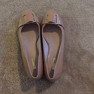 Louise et Cie beige patent leather block heel flat